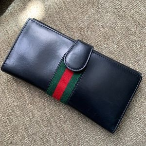 Authentic Gucci Shelly Web Bifold Wallet